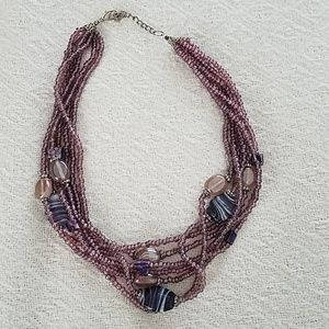 3 for $10 - Purple beaded torsade necklace